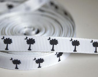 1 M Ruban grosgrain Ribbon 10MM - Crescent Moon on a white background and black tree