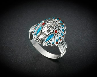 Sterling silver Navajo Chief w Turquoise, Coral, resin headdress ring SIZE 8 thru 14
