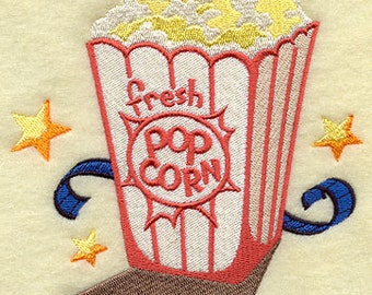 Movie Popcorn Embroidered Flour Sack Hand/Dish Towel
