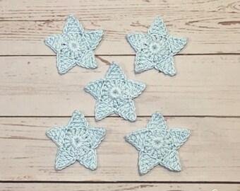 Crochet Star Applique - Set of 5 baby blue cotton crochet stars.