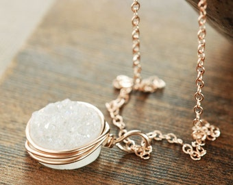 White Druzy Rose Gold Necklace, Druzy Jewelry, 14k Rose Gold Statement Necklace, Layering Necklace