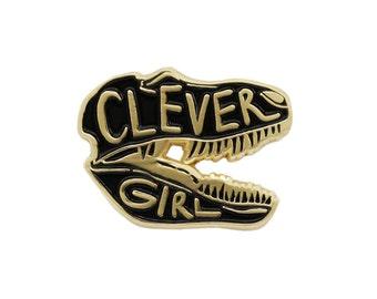 Black Clever Girl Jurassic Park enamel lapel pin