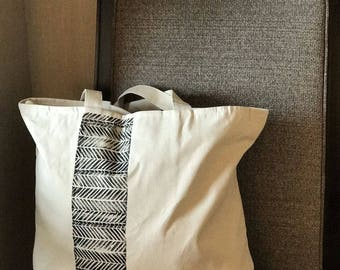 Block Printed Zipper Large Tote Bag ***Free US Shipping