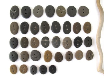 Buttons Stone Mediterranean Beach Rock Pebble Knitting Sewing Buttons Craft Jewellery Findings SMALL BUTTONS LOT 14-21 mm
