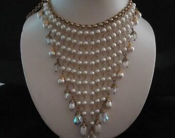 ON SALE Vintage Crystal & Faux Pearl Bib Beaded Statement Runway Necklace Long 1950s 1960s Black Tie Formal Old Hollywood Regency Glam Jewel
