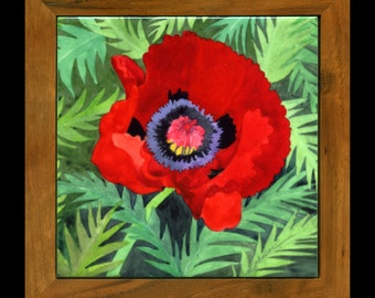 Poppy ceramic trivet