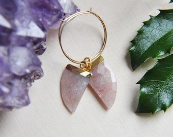 Horn earrings, Hoop Earrings, Gold Hoop Earrings, Gold Filled Hoops, Gemstone Earrings, Moonstone Earrings, Amazonite Earrings, Prehnite