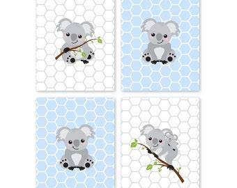 Koala Bear ART PRINTS, Nursery Art Wall Decor for Baby Boy Bedroom Animal Art for Nature lover Blue Gray Koala Gender Neutral Gift, Set of 4