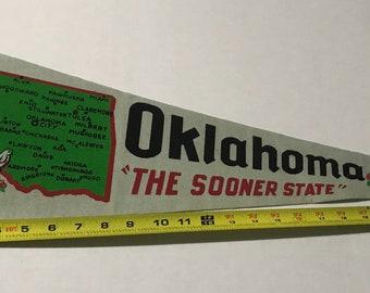 Vintage Oklahoma  Souvenir Felt Pennant