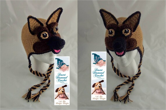 Crochet Pattern 077- German Shepherd Beanie Hat - All Sizes
