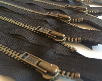 YKK Antique Brass Metal Zipper- Black 580- (5) Pieces- Available in 7 or 12 inches