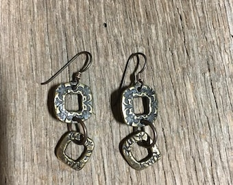 Antique Brass scroll frame earrings