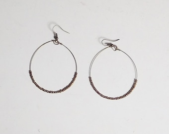 Seed Bead Hoop Earrings, Large Thin Wire, Brass Copper, 2 inches wide, Steampunk Beaded Hoops, Long Hoops, Bohemian Beaded Hoop Earrings