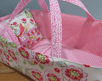 Doll Carrier, Will Fit Bitty Baby and Wellie Wisher Dolls, Soft Pink Modern Print with Flowers, Pink Lining, 16 Inches Long, Doll Basket