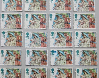 50 UK/GB used Christmas postage stamps from 1994. Great for crafts or collectors.