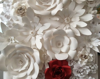 Canvas with paper flowers