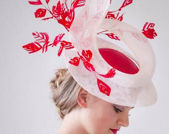 Stunning White and Red Sinamay Straw Fascinator Hat with Feathers / Ascot Hat / Designer Hat