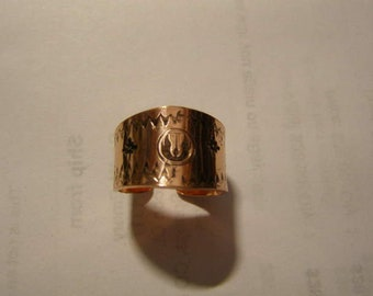 COPPER Adjustable Open Back Tapered Hand Stamped JEDI Style sz.7 ring #R-008