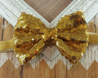 Gold sequin headband, gold sequin bow headband, gold headband, 5 inch gold bow headband, Big bow headband, Large bow headband, gold bow