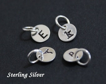 "Tiny sterling silver initial charms - 1/4"" (6.4mm) - personalized initial charms"