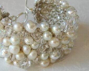 Bridal Wedding Pearl Crystal Statement Cuff Bracelet,SOFT PURE WHITE Glass Freshwater, Baroque, Unique  Hand Knit  Exclusive, Sereba Designs
