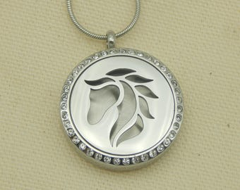 Horse with Crystals 30mm Aromatherapy Locket, Stainless steel Locket, Religious Locket,