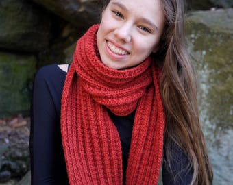 Handknit Chunky Red Scarf