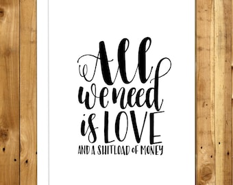 Funny Love Card. Anniversary Card. For Boyfriend For Girlfriend. For Husband For Wife. For Him For Her. All We Need Is Love 028