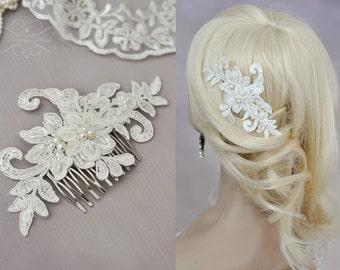 Floral Vintage Bridal Hair Comb, Wedding Headpiece with Beaded Lace Pearls and Flowers in Ivory