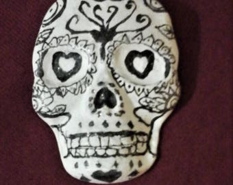 calavera, day of the dead, sugar skull pin.   in black and white