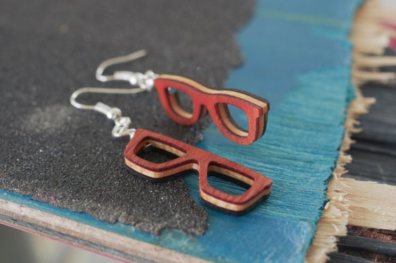 SKATEBOARD recycled wood glasses earrings green orange red black grey purple blue yellow #madeinfrance