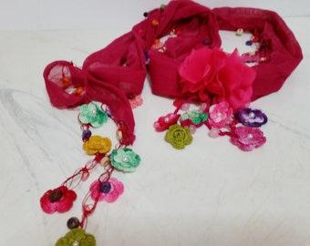 Fuchsia Silk Lariat Necklace with Crochet Flowers and Beads - silk wrap scarf jewelry foulard skinny scarf beaded silk scarf boho pink scarf