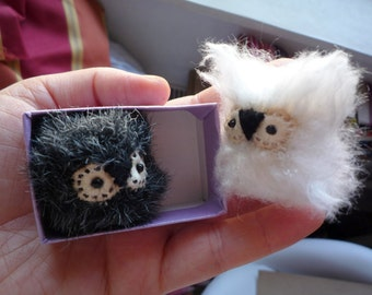 Olgita    -  Little  white tiny owlet, soft art  toy owl creature  by Wassupbrothers.