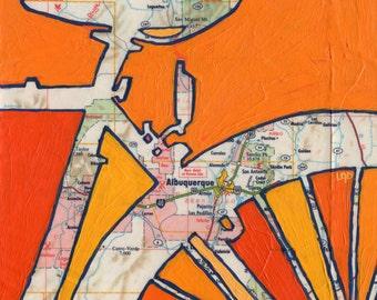 Albuquerque - small print - featuring Sandia Park, San Antonio,  New Mexico-bicycle art print of map painting, bike art