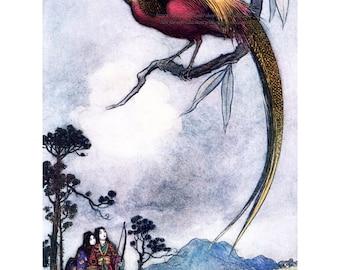 Bird of Heaven Fabric Block - Japanese Fairy Tale - Warwick Goble