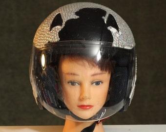Vintage Motorcycle HELMET Black COW Print RHINESTONE Encrusted w/ Shield Space Man Halloween Costume