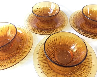 Vintage dinnerware set glass plates vintage plate Vereco France vereco glass vintage amber glass dinner plates set vintage bowl