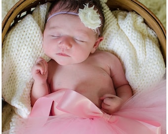 Cream shabby chic flower on lavender super skinny headband/ baby headband/ newborn headband