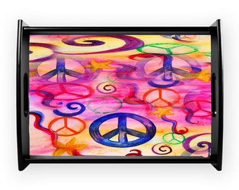 Peace sign serving tray from my art, available in 2 sizes