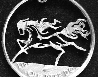 Horse Wildfire Hand Cut Coin Jewelry