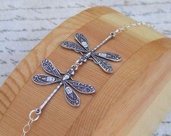 Silver Dragonfly Anklet, Sterling Silver Anklet, plus size bracelet, summer, spring fashion,  kissing dragonflies, dragon fly