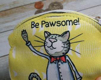 Pièce coulissante Cat 4x4 tour Cat Pun humour être Pawsome portefeuille impressionnant pour pièces Earbuds cadeau cartes maquillage