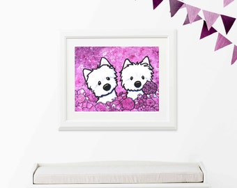 ORIGINAL One of A Kind KiniArt WESTIE Dog Painting FLORAL