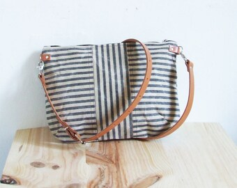 Small Waxed Canvas Bag, Waxed Canvas  Crossbody Purse, Striped, Zipper, Leather Straps