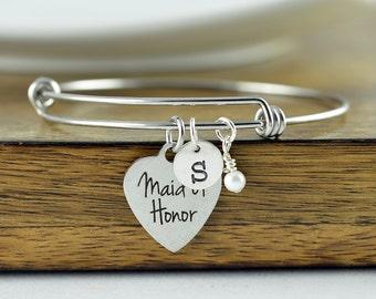 Maid Of Honor Bracelet, Maid Of Honor Gift, Custom Maid of Honor Jewelry, Matron of Honor Gift, Personalized Bangle, Charm Bracelet