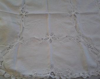 Gorgeous White Battenburg Lace Square Tablecover