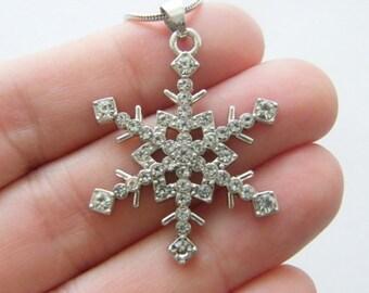1 Snowflake clear rhinestone pendant antique silver tone NB1
