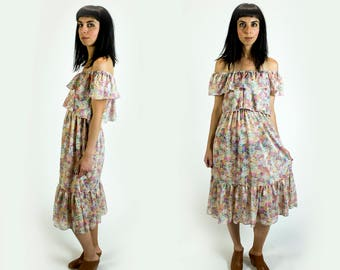 Vintage 1970s Semi Sheer Floral Print Ruffle Tiered Off the Shoulder Summer Dress Fits Like Size XS Extra Small // S Small