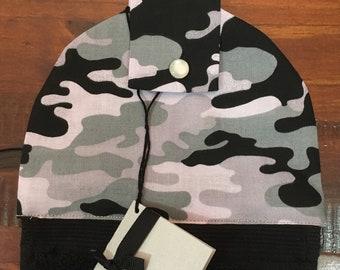 Hanging hand towel - black towel - grey camo