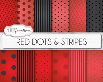 "Red and Black digital papers ""Red Dots & Stripes"" Sexy red backgrounds, black, vignette, polka dots, stripes, Valentines Day, Boudoir"